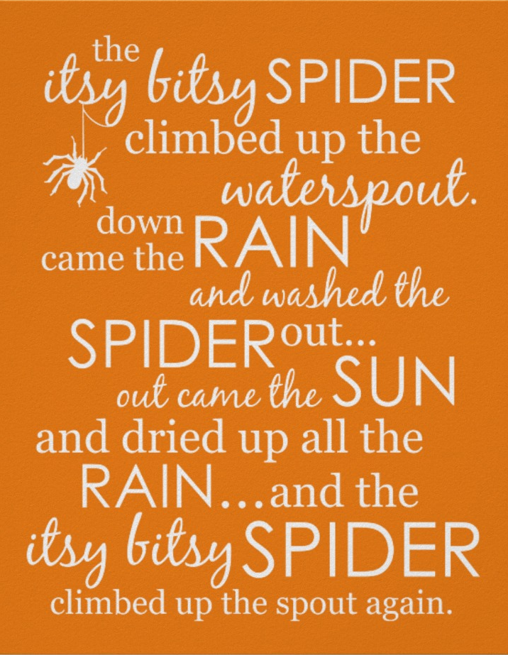 Itsy Bitsy Spider Poster - Orange