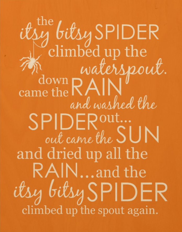 Itsy Bitsy Spider Wood Print - Orange
