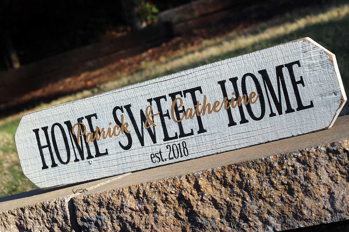 Home Sweet Home Sign with Client's Names