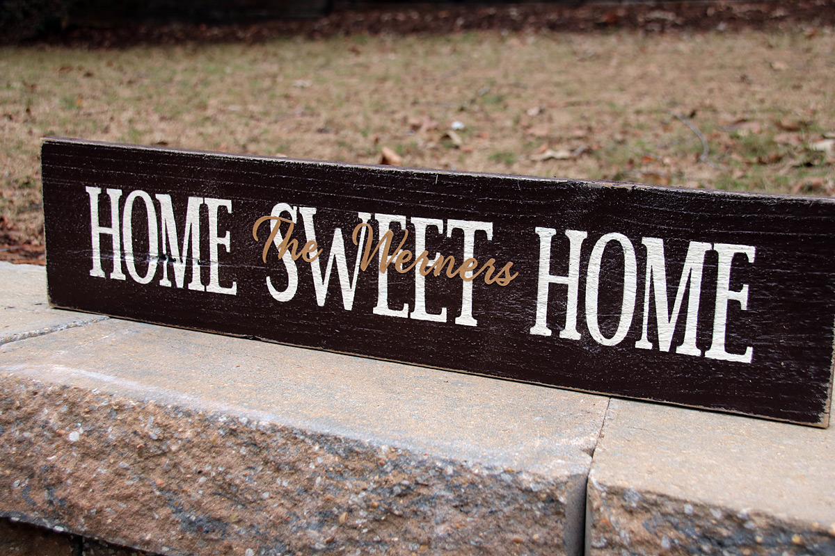 Personalized Home Sweet Home Wood Sign