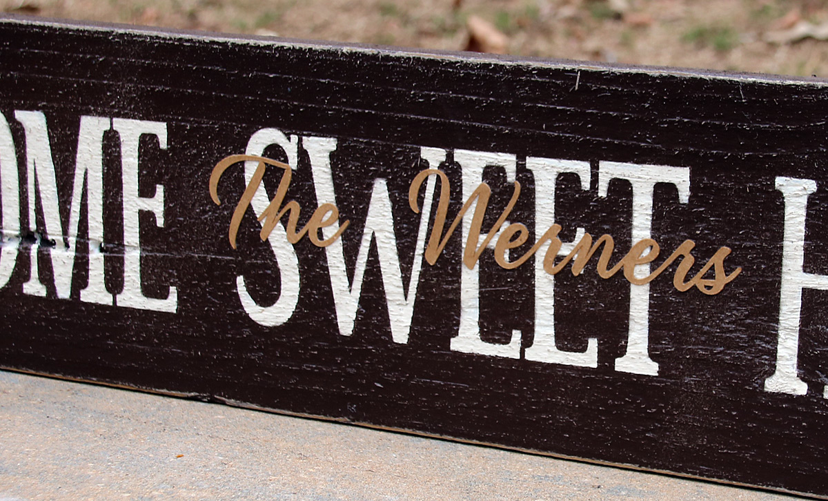 Home Sweet Home Sign with Family Name Paper Overlay