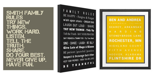 Custom Family Rules Printable, Poster or Canvas