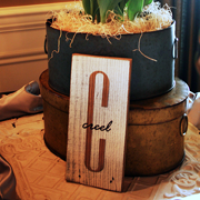 Monogram with Overlay Sign on Tablescape