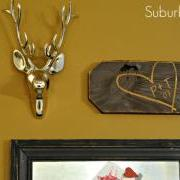 Carved Heart & Initials Sign on Gallery Wall