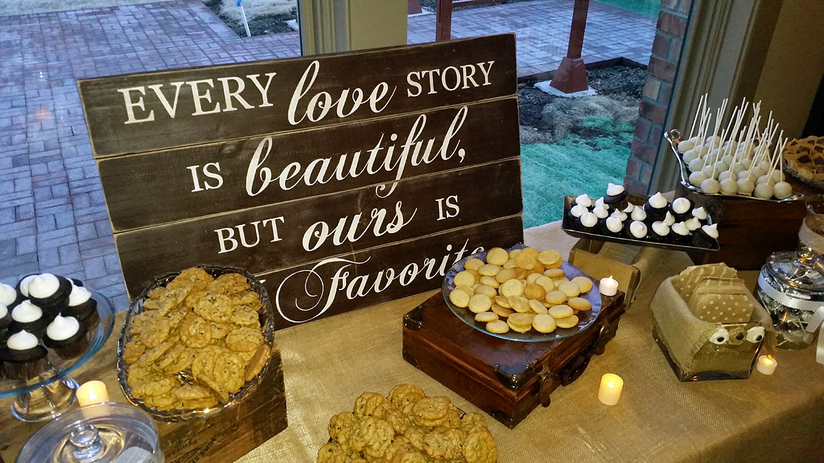 Love Story Rustic Wedding Sign on Dessert Table