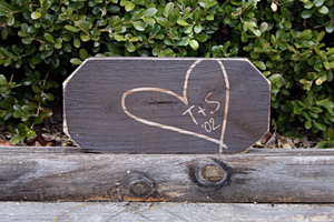 Carved Heart with Initials Sign