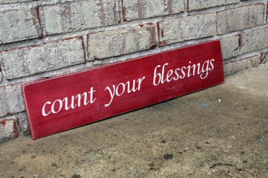 Count Your Blessings Sign - Red